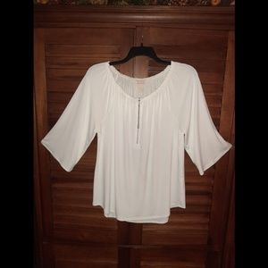 Scoop neck stretch knit blouse